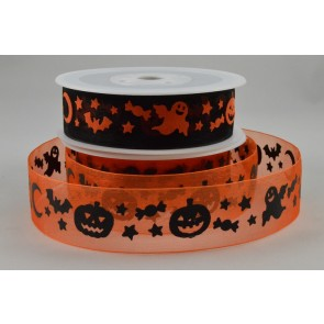 55030/55031 - 25mm Halloween Sheer Organza Ghost/Pumpkin Ribbon x 20 Metre Rolls!!
