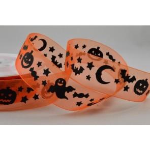 55030 - 25mm Orange Halloween Sheer Organza Ghost/Pumpkin Ribbon x 20 Metre Rolls!!