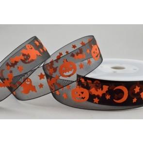 55031 - 25mm Black Halloween Sheer Organza Ghost/Pumpkin Ribbon x 20 Metre Rolls!!