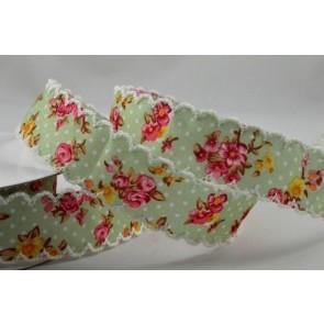 55033 - 25mm Green Flower Printed Zigged Edge Ribbon Design x 10 Metre Rolls!!