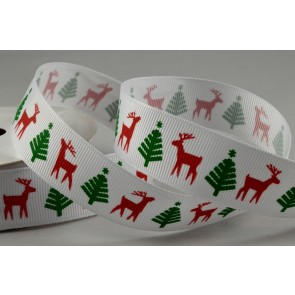 55050 - 22mm White Christmas Printed Grosgrain Ribbon x 10 Metre Rolls!