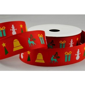 55051 - 25mm Red Christmas Printed Grosgrain Ribbon x 10 Metre Rolls!