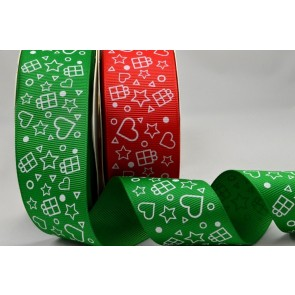 55052 - 38mm Grosgrain Printed Star & Presents Ribbon x 10 Metre Rolls!!