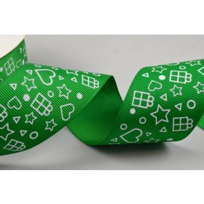 55052 - 38mm Green Grosgrain Printed Star & Presents Ribbon x 10 Metre Rolls!!
