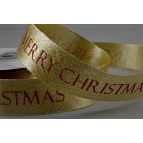 55055 - 25mm Gold Merry Christmas Printed Ribbon x 10 Metre Rolls!!