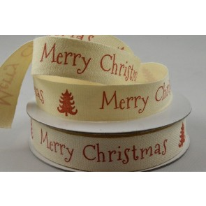 55058 - 15mm Merry Christmas Cotton Ribbon x 10 Metre Rolls!