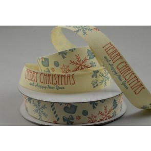 55059 - 15mm Merry Christmas & Happy New Year Cotton Ribbon x 10 Metre Rolls!
