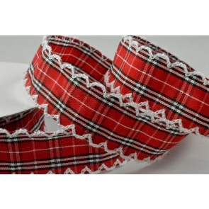 55061 - 25mm Red Gingham Ribbon with Fringed Edge x 10 Metre Rolls!