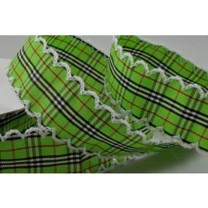 55061 - 25mm Green Gingham Ribbon with Fringed Edge x 10 Metre Rolls!