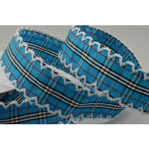 55061 - 25mm Blue Gingham Ribbon with Fringed Edge x 10 Metre Rolls!