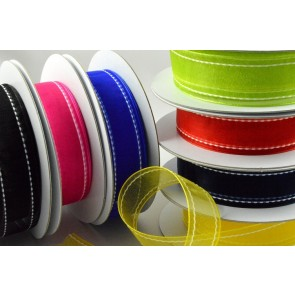 55063 - 22mm Colourful Side-Stitch Organza Ribbon x 20 Metre Rolls!