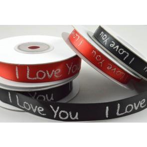 55064 - 9mm & 15mm I love You Satin Printed Ribbon x 10 Metre Rolls!