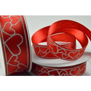 55065 - 15mm Red Double Satin with Printed Hearts x 10 Metre Rolls!