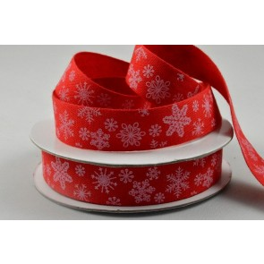 55066 - 15mm Red Snowflake Cotton Ribbon x 10 Metre Rolls!