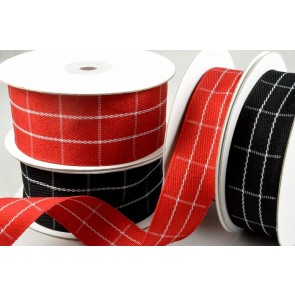 55069 - 25mm/38mm White Woven Checked Ribbon x 10 Metre Rolls!