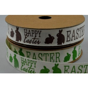 55071 - 15mm Happy Easter Ribbon with Bunnies x 10 Metre Rolls!