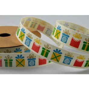 55072 - 15mm Cotton Printed Colourful Presents Ribbon x 10 Metre Rolls!