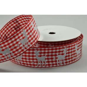 55074 - 25mm Red Reindeer Gingham Ribbon x 10 Metre Rolls!