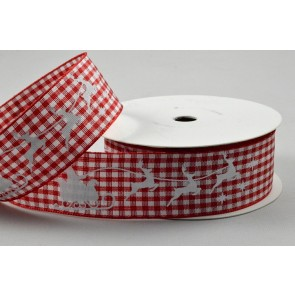 55075 - 25mm Santa Sleigh & Reindeers Red Gingham Ribbon x 10 Metre Rolls!