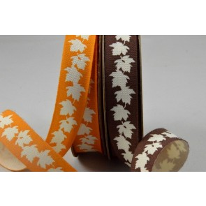 55076 - 15mm Cotton Autumn Leaf Printed Ribbon x 10 Metre Rolls!