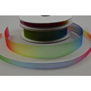 55078 - 6mm & 15mm Rainbow Sheer Organza Ribbon x 10 Metre Rolls!