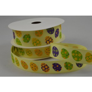 55081 - 15mm & 25mm Yellow Grosgrain Easter egg Ribbon x 10 Metre Rolls!