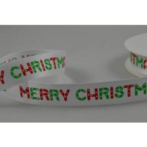 55082 - 15mm White Merry Christmas Satin Ribbon x 10 Metre Rolls!