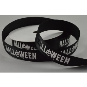55083 - 15mm Black Halloween Printed Ribbon x 10 Metre Rolls!