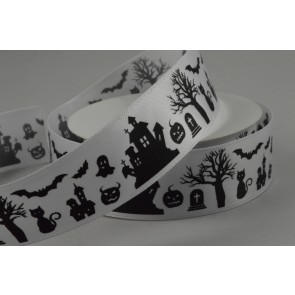55084 - 25mm White Halloween Printed Satin Ribbon x 10 Metre Rolls!