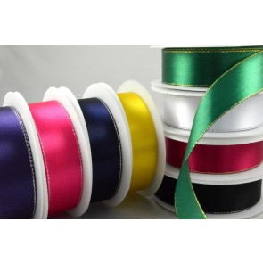 55087 - 3mm, 10mm, 15mm & 25mm Single Satin Ribbon with Lurex Edge!