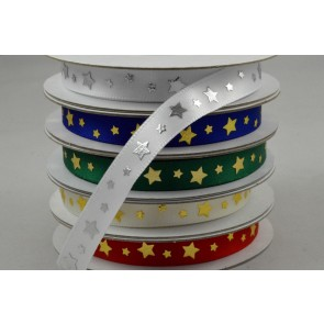 55090 - 9mm Star Printed Satin Ribbon x 10 Metre Rolls!