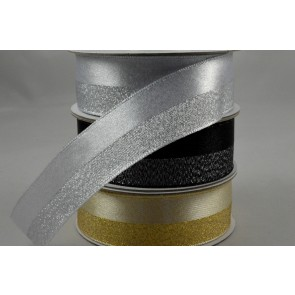 55091 - 25mm 50/50 Lurex Woven Ribbon x 10 Metre Rolls!