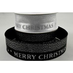 25mm Lurex Woven Merry Christmas Ribbon x 10 Metre Rolls!