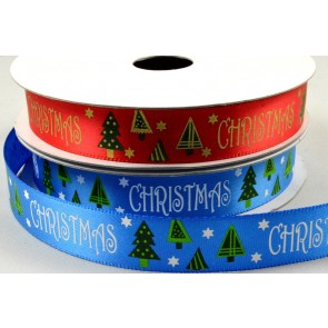 55093 - 16mm Christmas Satin Printed Ribbon x 10 Metre Rolls!
