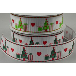 25mm White & Green Christmas Grosgrain Ribbon x 10 Metre Rolls!