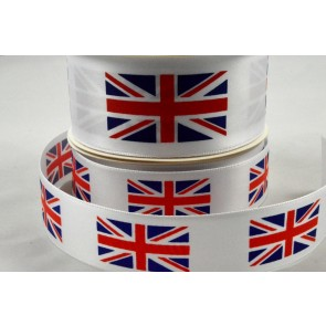 25mm & 38mm White Single Satin Great Britain Flag Ribbon x 10 Metre Rolls!