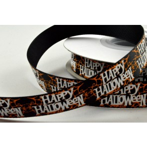55096 - 16mm Black & Orange Happy Halloween Satin Ribbon x 20 Metre Rolls!