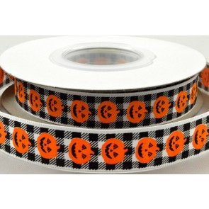 55097 - 16mm Black & White Chequered Halloween Pumpkin Ribbon x 20 Metre Rolls!