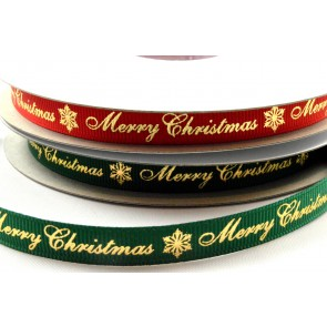 55098 - 9mm Merry Christmas & Snowflake Grosgrain Ribbon x 20 Metre Rolls!