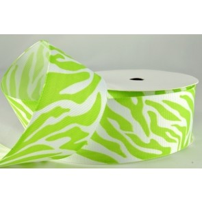 54551 - 38mm Green Zebra Printed Coloured Ribbon (20 Metres)