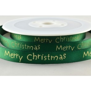 54113 - 10mm Green Merry Christmas Satin Print (20 Metres)