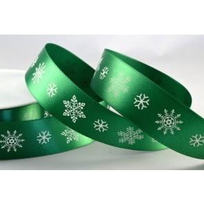 54360 - 25mm Green Satin Printed Snowflake Ribbon (20 Metres)