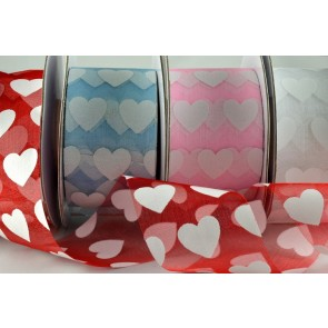 77007 - 38mm Coloured Sheer with Printed Hearts (10/20 Metres)