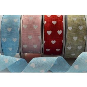 77013 - 25mm Heart Printed Coloured Light Ribbon x 10 Metre Rolls!!