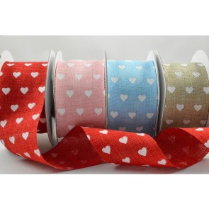 77013 - 38mm Heart Printed Coloured Light Ribbon x 10 Metre Rolls!!