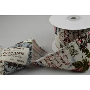 77019 - 60mm Fringed French Inspired Burlap Ribbon x 10 Metre Rolls!