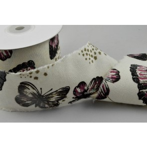 77021 - 60mm Natural Butterfly Burlap Ribbon x 10 Metre Rolls!