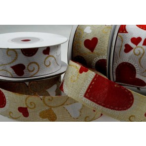 77024 - 25mm & 38mm Red Heart Xoxo Ribbon x 10 Metre Rolls!