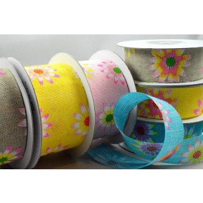 77025 - 25mm & 38mm Flower Printed Ribbon x 10 Metre Rolls!