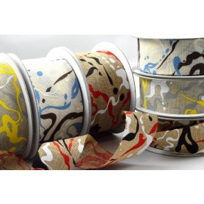 77026 - 25mm & 38mm Contemporary Painting Splash Ribbon x 10 Metre Rolls!